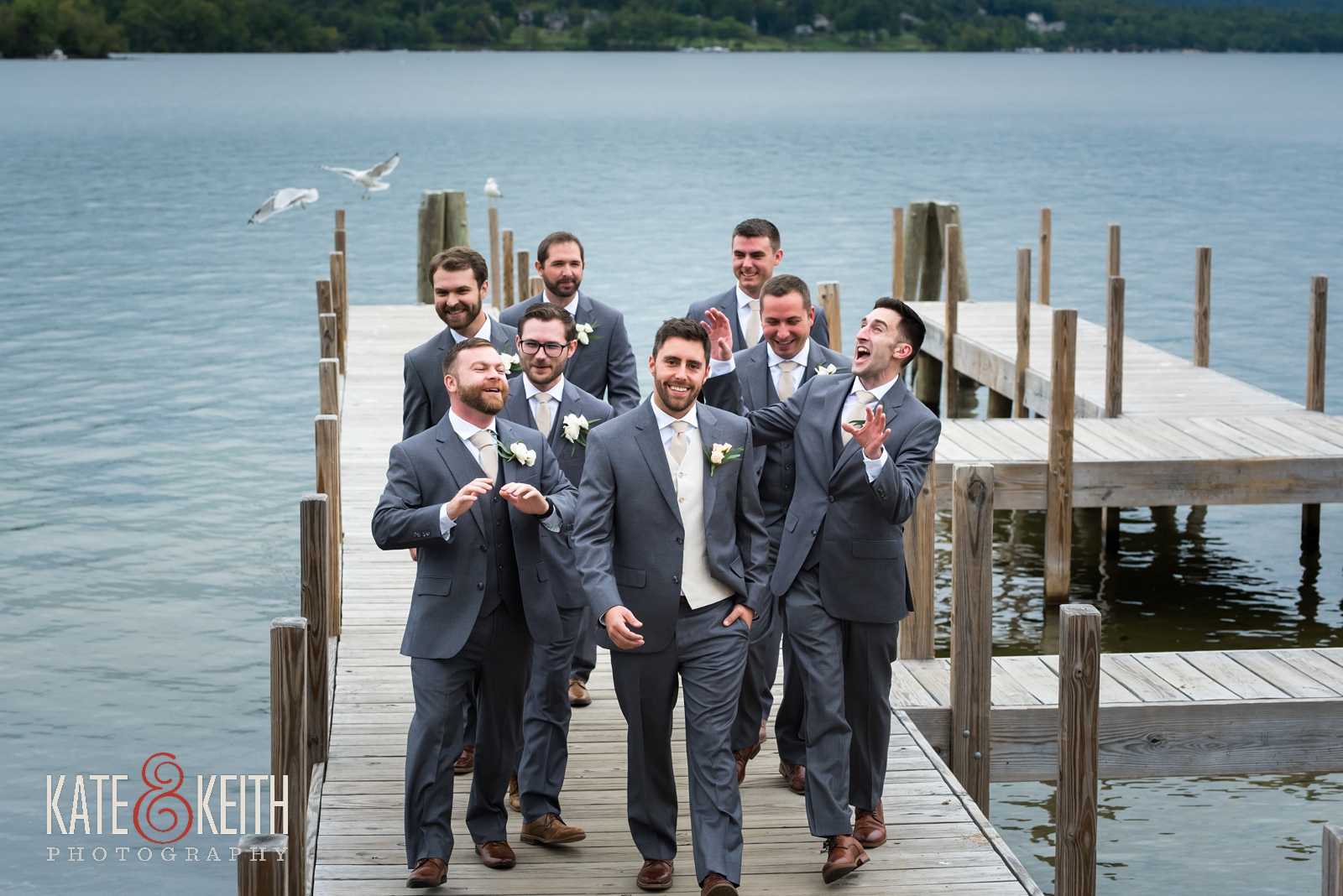 New Hampshire, Lakes Region, Lake Winnipesaukee, The Margate Resort, wedding, outdoor wedding, lakeside wedding, groom getting ready, groomsmen, groomsmens portrait, group photo, fun group photo, fun wedding portraits, silly wedding portraits, silly wedding party photos