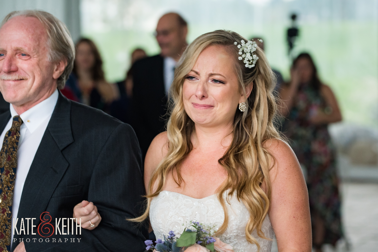 New Hampshire, Lakes Region, Lake Winnipesaukee, The Margate Resort, wedding, outdoor wedding, lakeside wedding, wedding processional, sweet moment, bride with her father, walking down the aisle, bride crying, tears of joy, emotional wedding moment, father of the bride