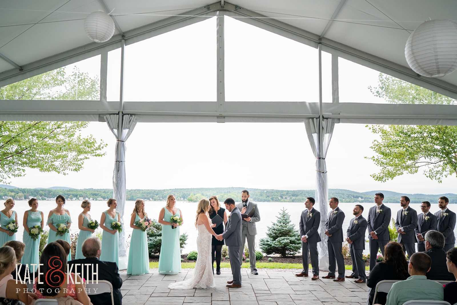 New Hampshire, Lakes Region, Lake Winnipesaukee, The Margate Resort, wedding, outdoor wedding, lakeside wedding, wedding ceremony, outdoor ceremony, tented ceremony, emotional moment, wedding party, wedding guests,