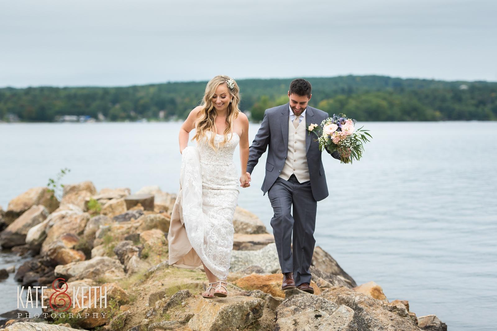 New Hampshire, Lakes Region, Lake Winnipesaukee, The Margate Resort, wedding, outdoor wedding, lakeside wedding, wedding portraits, couple portraits, couple photos, bride and groom photos, lakeside wedding portraits