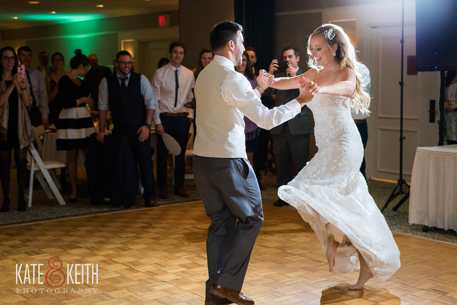 New Hampshire, Lakes Region, Lake Winnipesaukee, The Margate Resort, wedding, outdoor wedding, lakeside wedding, wedding reception, grand entrance, choreographed first dance, wedding dance, bride and groom dance, dance moves