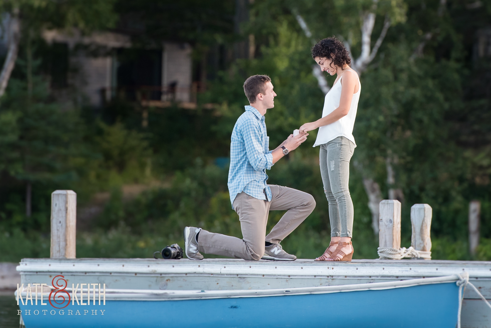 Surprise proposal, secret proposal photos, proposal in Acadia National Park, Southwest Harbor, Mount Desert Island, seaside, sunset proposal, engagement, getting engaged in Acadia National Park, rowboat, coastal Maine, New England, sailboats, dock, waterfront engagement